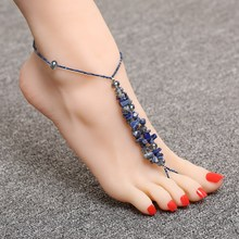Graceful Simulated Stone Decoration Anklets Resilient Delicate Crystal Chain Anklets Glass Bead Summer Jewelry(China)