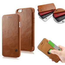 Retro Slim Ultra Thin PU Leather Luxury Flip Wallet Hard Case for iPhone 6 6s Plus Brand Phone Cover Coque Capinha Brown