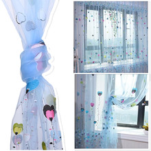 Fashion Curtain Quality Sheer Curtain  Child Window Cortina Ballon Heart Curtain for Living Room Home Decor 100*200cm