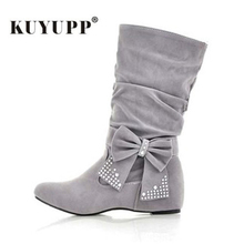 High Suede Women Boots Butterfly Winter Shoes MId-Calf Women's Boots Plus Size 35-43 Stretch Slim Sexy Botines Mujer 2017 1DDT01(China)