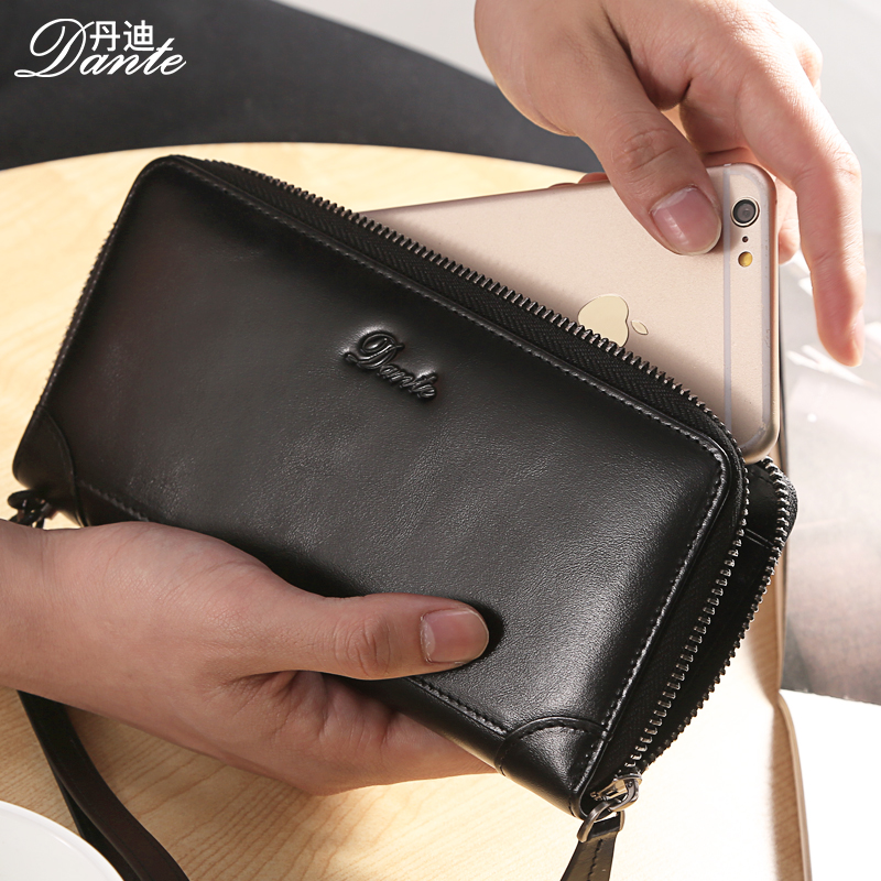 Dante Luxury Brand Men Leather Wallets Vintage Genuine Cow Leather Long Clutch Wallet Phone Pocket Pouch , Carteira Masculina<br>