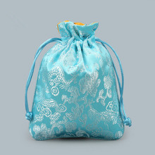 Decorative Dragon Drawstring Silk Brocade Gift Bags for Jewelry Trinket Beads Bracelet Storage Pouch Craft Packaging Coin Pocket