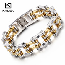 Kalen Rhinestone Bike Chain Bracelet Men  Stainless Steel Heavy Chunky Gold Color Bicycle Chain Bracelet Male Accessory Gift