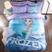 Disney Frozen ANNA 3D Printed Bedding Comforter Sets Duvet Covers Sheets Girls Bedroom Cotton 600TC Soft Woven Purple Blue Color(China)