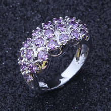 New 2017 Wholesale & Retail Purple Cubic Zirconia Silver Colour Fashion Cluster Engagement Ring J104(China)