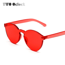 TWO Oclock 2017 Stylish Transparent Cat Eye Sunglasses Women Men Luxury Designer Clear Sun Glasses Integrated Goggles Red Candy