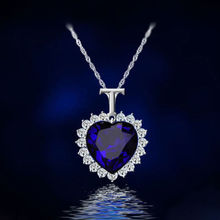 Fashion Silver Titanic Rose Heart Of The Ocean Blue Crystal Choker Statement Pendant Necklace For Women