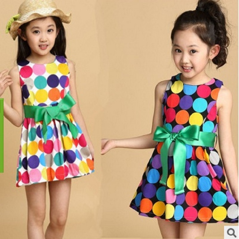 2017 Summer New Childrens Fashion dress 2 Color 4-12 Years Girls Cute Preppy Style Dress Caihong Dot Sleeveless Dress ly010<br>