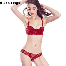 1/2 Cup Women Sexy Bra Set Plus Size D Underwear Set Thin Cotton Red Lace Bra Panties Set Deep V Brassiere Embroidery Lingerie