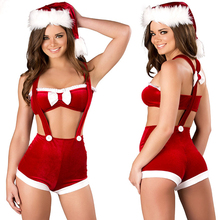 2015 Hot Sales New Christmas Costume for Lady Spaghetti Strap Pants+Lingerie with Villi Hat Santa Claus Costumes For Shipping