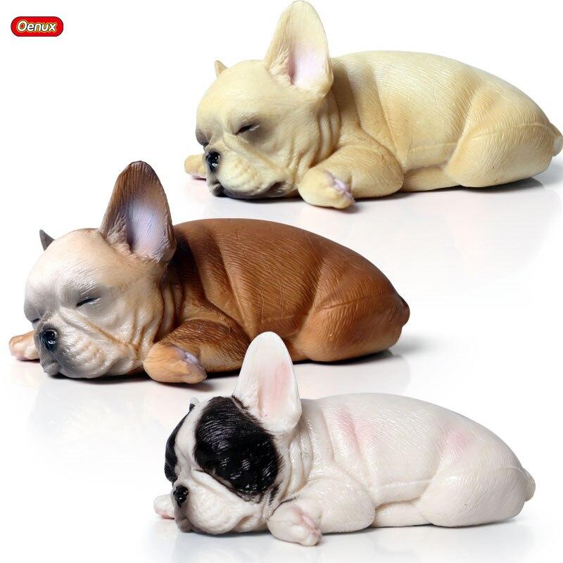 2 French Bulldogs Mini Cute Realistic Dog Figurine Home Desk Decoration Kids Toy