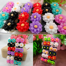 Women's Fashion 12 Pairs Mixed Color Lovely Daisy Flower Jewelry Stud Earrings