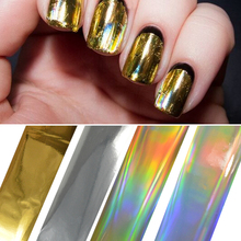 100cmx4cm Gold Silver Laser Nail Art Glue Transfer Stickers Decals Adhesive Glitter Manicure Decoration Styling Tools BEJY02-05