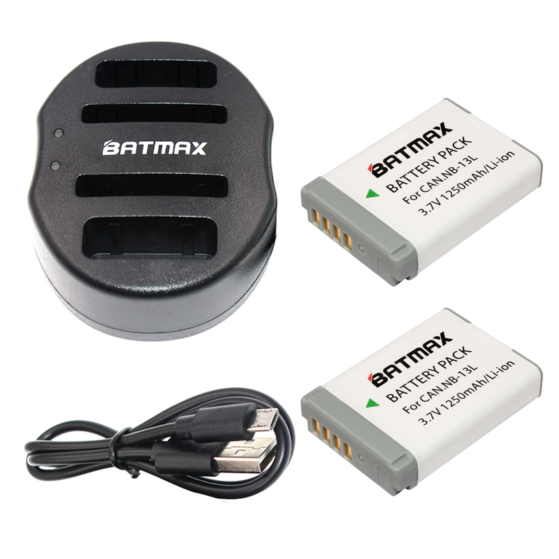 Batmax 2pcs NB-13L NB 13L NB13L Battery+USB Dual Charger for Canon PowerShot G5 X G5X G7 X G7X G9 X G9X. Digital Camera Battery<br>