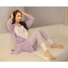 Free Shipping Plus Size Long Women Pajamas Set Blouose +Pants Loose Confortable Pajamas For Women Fashion Heart Homewear 16