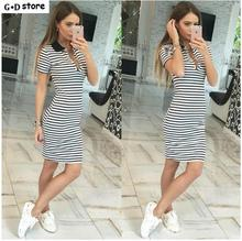 Women Summer Black White Striped Dress Sexy Deep V-neck Short Sleeve Polo Shirt Dress Casual Slim Sheath Mini Dress Bodycon