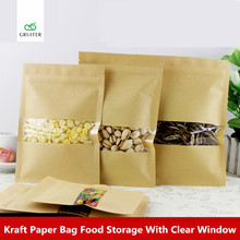 14x20cm 100 Kraft and Clear Mylar Bags Window Reclosable W/ZipLock Pouch Food Storage Zipper Sealable Packing Bags Printing Logo
