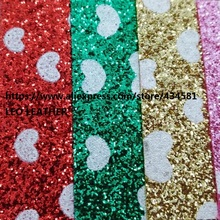 Printed Heart on Glitter Leather Synthetic Leather For DIY Accessories Handbags and Shoes P1474 soft backing(China)