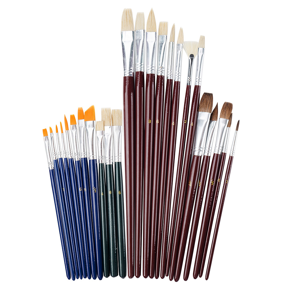 25 Pieces Art Paint Brush Value Set for Oils, Acrylic, Gouache &amp; Watercolor Painting<br>