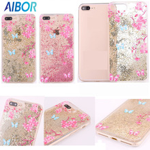 NEW Dynamic Liquid Bead Quicksand peach blossom Flower Butterfly Phone Case For iPhone 6 6s Plus 7 7 Plus Frame Back Cover Coque(China)