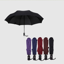 Three Folding big rain Ladies Fully-automatic Aluminium Alloy Pongee strong Frame inverted Women's umbrella parasol