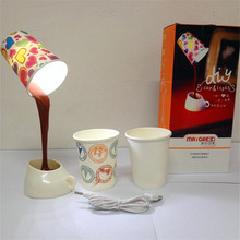 Novelty USB/AAA Romantic Pour Coffee Cup LED Home Desk Table Night Light Lamp