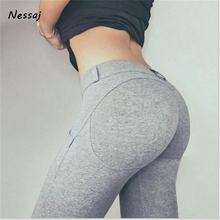 Nessaj Women Low Waist Leggings Push Up Sexy Hip Solid Trousers For Women Fashion Elastic Leggings Adventure Time Sexy Legins(China)
