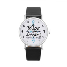 Women Follow Dreams Words Pattern Leather Watch New Simple Design Quartz Watches Genuine Leather Casual Quartz Watches(China)