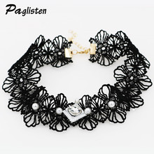 Harbinger Punk Crystal Opal Necklace Collares Retro Queen Statue Sexy Pear Imitation Pearls Neck Necklace Fashion Jewelery Women