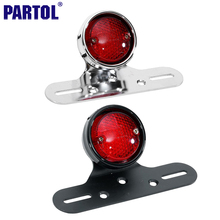 Partol Motorcycle Integrated Tail Light Round Rear Brake Stop Lamp with License Plate Holder for Honda Dirt Pit Bike Dual Sport