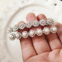1 pc Delicate Crystal Hairpin Shiny Pearls Design Hair Clip Rhinestone Headwear Fashion Lady Women Only Pearl Style Now(China)