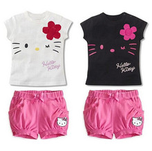 New retail 2016 spring summer children's clothes, baby girl cartoon Hello Kitty cotton T-shirt and casual short pants suit