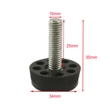Black M10x25mm Screw 1000PCS M10 Screw , 34mm Base Adjustable Furniture Leg Table Leveling Feet Pad JF1203(China)