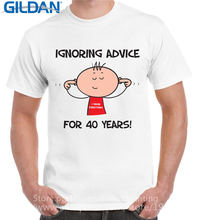 Funny T Shirt Brand Short Sleeve Ignoring Advice For 40 Years 40Th Birthday Crew Neck Short-Sleeve T Shirts For Men(China)