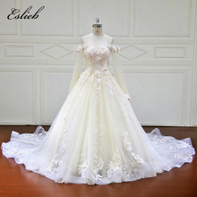 Sweet Boat Neck Princess Design A Line Flower Wedding Dress Full Sleeves Fairy Bodice Zipper Closure Lace Appliques Bridal Gown(China)