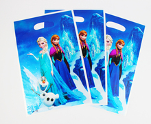 Free Shipping Frozen snow princess theme printing plastic hand length handle bag, loot/ lolly bags,shopping gift bag 60pcs(China)
