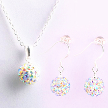 brand Silver Jewelry set women's fashion ab white crystal 10mm ball drop earrings necklace pendant shamballa set for women