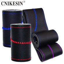 Leather Braid On The Steering-Wheel Of Car Leisure sports Steering Wheel Cover Auto Stitch On Wrap Cover WIth Needles and Thread(China)