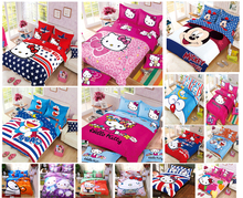 Cartoon Bedding Set Children Cotton Bed sheets Duvet Cover Bed sheet Pillowcase 3-4pcs(China)