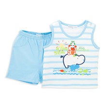 Kavkas Baby Clothes set 100% Cotton Bear On Hippo Printing Summer Wear Sleeveless Two Pieces Baby Boy Clothing Set(China)