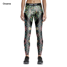 Onseme New Arrival Flower Grass Patterns Digital Printed Leggings For Woman High Waist Slim Ninth Pants Elastic Workout Legging