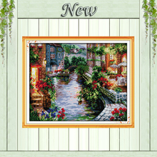 The lakeside houses Europe Scenery 11CT counted pattern printed on canvas DMC 14CT Cross Stitch kits needlework embroidery Sets