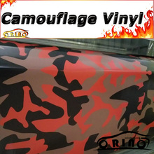 Red Black Camouflage Vinyl Wrap Foil Snow Camo Film With Air Free Bubble Motor Truck Vehicle Covers Wraps Matte/Glossy Finish