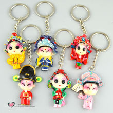 Freeshipping Keychains toys Q figures Traditional China Peking Opera Art car key decoration party supply tourist souvenir gift