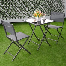 3 Pcs Bistro Set Garden Backyard Table Chairs Outdoor Patio Furniture Folding HW51582(China)