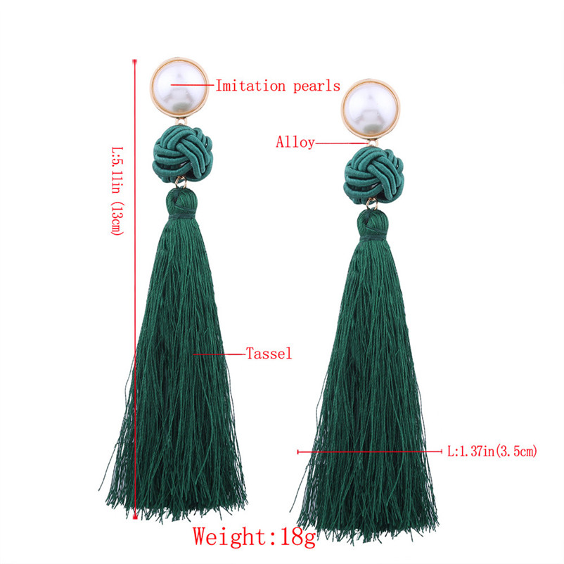 Trendry Earrings for Women Vintage Bohemian Fashion Weave Tassel Earrings Long Drop Earrings Jewelry for gift Brincos J05#N (1)