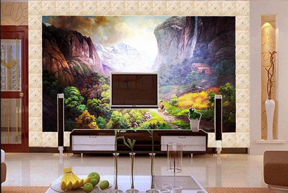 customize 3d wall papers home decor living room Mountain village cattle and sheep 3d wall wallpaper brick wall paper rolls<br>