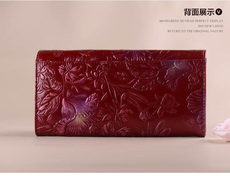 NEW 3D Embossing Wanita Printing Floral Wanita Dompet Kulit Asli Wanita Dompet Panjang Kulit Sapi Dompet Clutch Tas Pesta