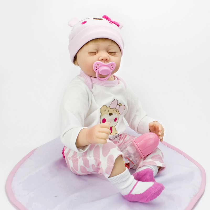 HOT Newborn Baby Doll 22inch Silicone Reborn Doll Toys Lifelike Realistic Eyes Closed Accompany Kids Sleeping bonecas baby alive<br><br>Aliexpress