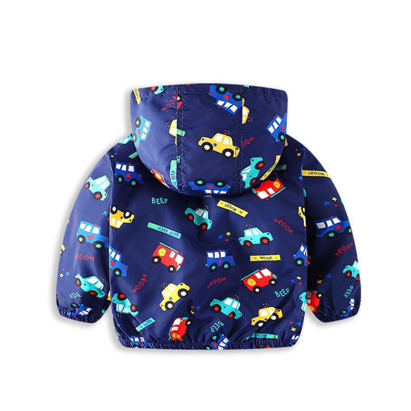 COOTELILI 80-130cm Cute Car Printing Kids Boys Jacket 2018 Spring Hooded Children Clothes Active Girls Windbreakers  (6)